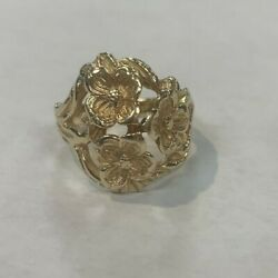 Retired And Rare Find James Avery Three Dogwood Flower Ring 14k Gold Size 7.5