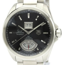 Polished Tag Heuer Grand Carrera Gmt Steel Automatic Mens Watch Wav5111 Bf532228