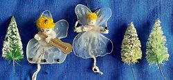 5 Vintage 1950s Christmas Ornament Lot Bottle Brush Trees And Chenille Angels