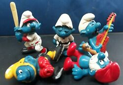 Vintage Smurfs Figures Peyo Schleich 70and039s-80and039s Lot 5 Guitar Papa Baseball Karate