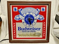 Vintage Budweiser Golden Cyldedale Horses Wall Clock Electric