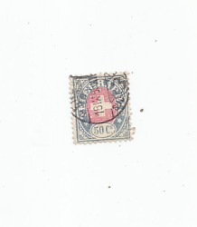 Telegraph Stamp Swiss 50 Cent Blue And Red 1895