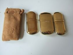 Set Of 3 Camel Brass Lighters - 2 No. 5 1 Larger W Pouch Possibly Unused