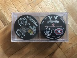 Opening Night Last Night Maple Leaf Hockey Puck Set In Sealed Case 1999 Collect