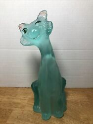 Fenton 11quot; Winking Alley Cat Aqua Glass Figure Hand Painted Signed