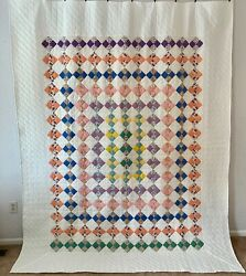 Vintage Farmhouse Handmade Quilt Trip Around The World 4 Patch On Point