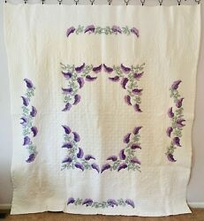 Vintage Farmhouse Handmade Quilt Lilacs Hand Embroidered And Quilting