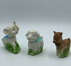 Rare Vintage Squeaky Rubber Toys Easter Farm Lamb Elephant Donkey Made In Taiwan