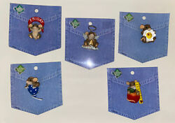 5 Charming Tails Lapel Pins On Packaging Friday Angel Daisy Balloon Apple