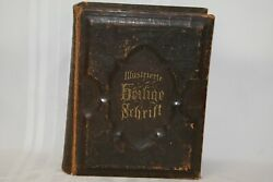 Large Antique German Family Holy Bible Leather Cover 1890 A. J. Holman And Co