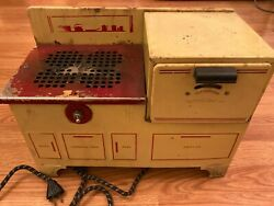 Vintage Empire Toy Metal Stove And Oven With Working Heater And Thermometer