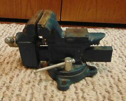 """Vintage Sears 3 1/2"""" Blue 508 -51770 Swivel Bench Mount Vise Anvil Made In Usa"""