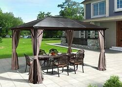 Erommy 10and039x12and039 Outdoor Hardtop Polycarbonate Gazebo Canopy Curtains Aluminum Fra
