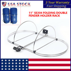 Stainless Folding Double Fender Holder Rack Mount Fit For 9-1/2and039and039 Boat Fenders