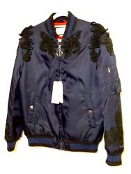 Navy Blue Bomber Jacket With Black Embroidered Applique And Rhinestones