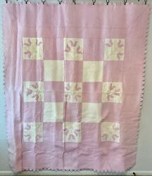 Vintage Farmhouse Handmade Quilt Lavender With Hand Quilting And Appliqué