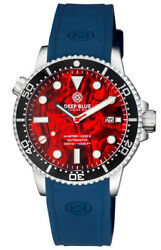 Deep Blue Master 1000 44mm Automatic Men Diver Watch Red Abalone Dial Blue Strap