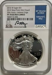 2016 W Proof Silver Eagle Ngc Pf70 Ultra Cameo Moy 30th Anniversary Edge Letters