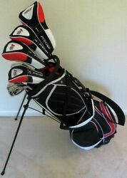 Tall Mens Complete Golf Club Set +1 Driver Woods Hybrid Irons Putter Stand Bag