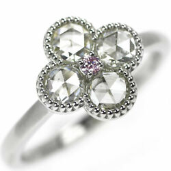 Brand New Pt900 Rose Cut Diamond Ring 0.762ct Pd0.03ct Flower Selby_japan