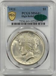 1921 High Relief Peace 1 Pcgs Gold Shield/cac Ms 64 + Silver Dollar