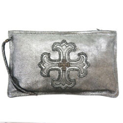 Authentic Chrome Hearts Chplat Clutch Bag Metallic Silver Leather 0078