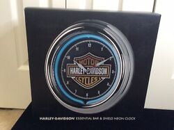 Harley Davidson Motorcycles Essential Bar And Shield Blue Neon Clock
