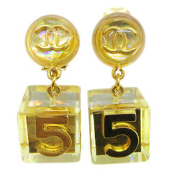 Cc Logos No.5 Shaking Earrings Clip-on Gold-tone 97p Clear 92616