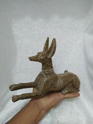 Raer Antique Anubis Ancient Egyptian God Of The Afterlife Figurine Granite Bc