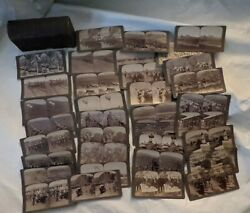 Lot Of 36 Russo Japanese War Underwood Stereoview Cards Original Photo Box