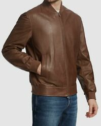 4495 Brunello Cucinelli Men's Brown Soft Leather Rib-knit Bomber Jacket Size S