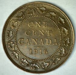 1916 Canada One Cent 1c Bronze Coin Extra Fine Coin