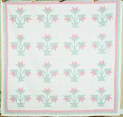 Well Quilted Vintage 30and039s Carolina Lily Antique Quilt Classic Floral Design