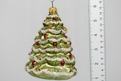 Rare Large Christmas Tree Shaped Glass Vintage Christmas Ornament, From Poland.