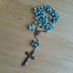 Antique Sterling Silver Catholic Cross Rosary With Aqua Blue Beads With Filigree