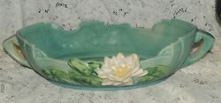 Roseville Pottery - Water Lily Blue Console Bowl 444-14