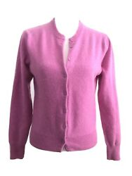 Womenand039s Cardigan Sweater Fitted 100 Cashmere Pink Medium