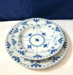 Royal Copenhagen Blue Fluted Full Lace 6 Dinner Plate + 6 Deep Plate New In Box