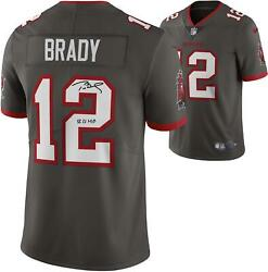 Tom Brady Buccaneers Super Bowl Lv Champs Signed Pewter Nike Jersey And Mvp Insc