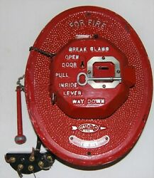 Rare Adt Antique Telegraph Fire Box Alarm Pull Box Station With Key And Hammer