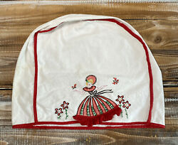 Vintage Embroidered Southern Belle Girl Lady Blender Toaster Appliance Cover Red