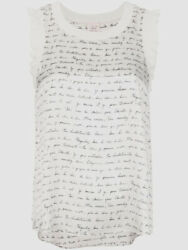 295 Cinq A Sept Womens Ivory Sleeveless Lenore Love Letter Silk Tank Top Size M