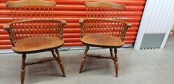 2 Stickley Nichols And Stone Solid Maple Spindle Back Dining Arm Chairs