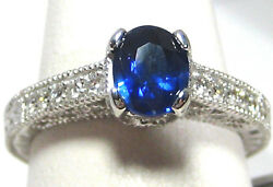 Blue Sapphire Ring Filigree Antique 18k White Gold Gia Certified Heirloom 5,840