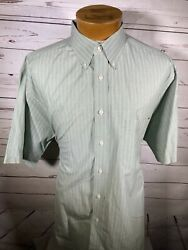 Roundtree Yorke Mens Green Striped Button Front Short Sleeve Size Xxl O