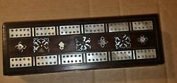 Wood With Mother Of Pearl Inlaid Vintage Victorian Cribbage Board Needs Tlc