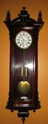 Antique Austrian Two Weight Vienna Wall Clock 8-day Time/strike