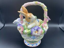 Fitz And Floyd Andldquohalcyonandrdquo Bunny And Flowers Teapot 8 3/4 Tall 7 1/2 Widest