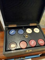 Rare 19th Century 33 Star Flag And No Monkeying Clay Poker Chip Set W Dealer Chip