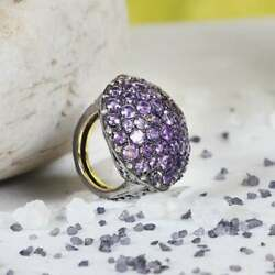 Solid 925 Sterling Silver Amethyst Diamond Ring Gift For Special Day Jewelry Mj